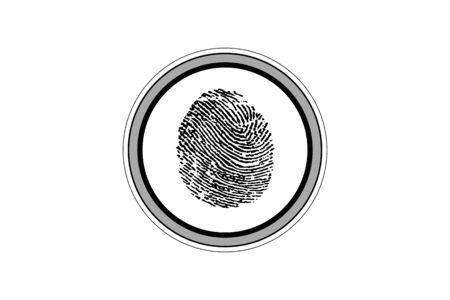 biometrics: Fingerprint on the fingerprint sensor. Isolated on white background.