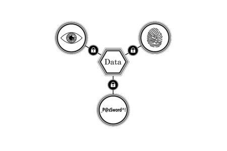 Methods of protection of information. Scan fingerprint, iris, enter the password. Illustration
