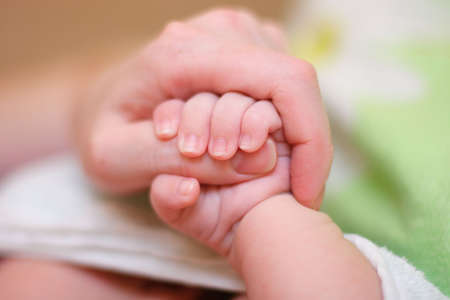 Baby hold mother finger on your hand photo