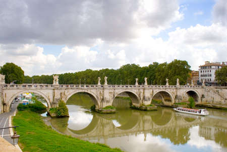 angelo: Rome: Ponte and Castel Saint Angelo Stock Photo
