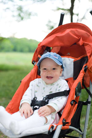 Baby in sitting stroller on nature photo