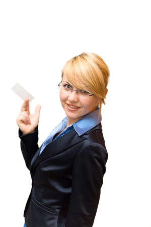half turn: Businesswoman half turn and show business card Stock Photo