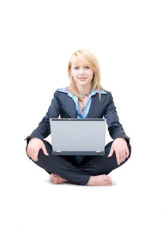 shoeless: Shoeless businesswoman with laptop do meditative exercises