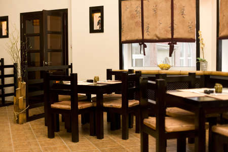 Interior of japanese restaurant, sushi bar photo