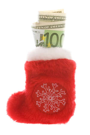 Red christmas sock with euro and dollar cash money isolated on white Stock Photo - 2138502