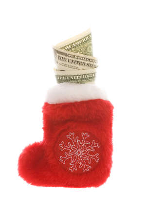 Red christmas sock with dollar cash money isolated on white Stock Photo - 2138498