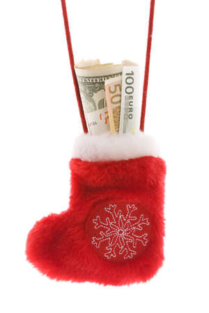Red christmas sock with euro and dollar cash money isolated on white photo