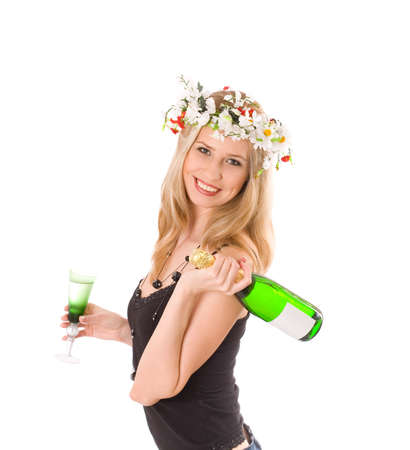 Smiling blond in colorful wreath holding glass and bottle of wine isolated on white Stock Photo - 2245676