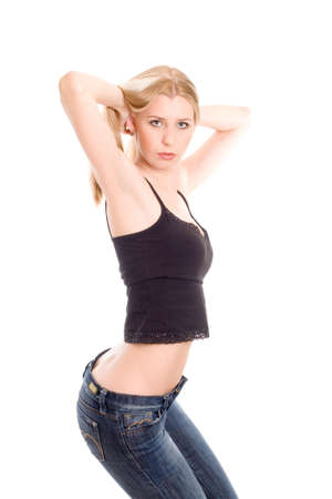 shirt unbuttoned: Lovely girl in blue jeans and black shirt crouch down low