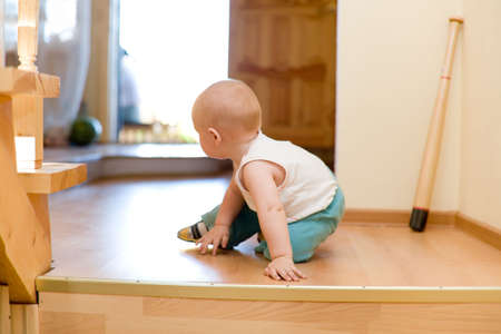 crawling: Quiet escape!Little baby escaping from ungracious house