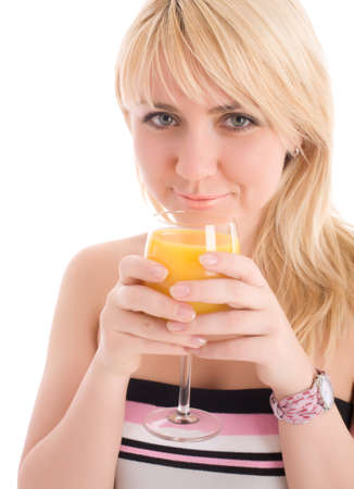 greeneyes: Attractive girl drinking fresh orange juice and smile