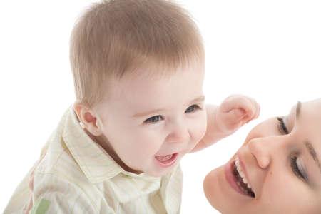 Portrait of happy mother with joyful baby boy