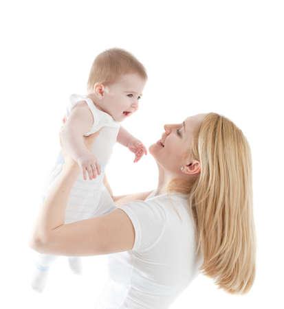 moms: Portrait of happy mother with joyful baby boy