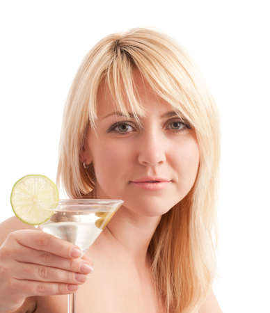 Attractive girl hold glass with martini cocktail photo