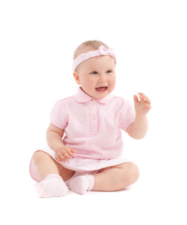 Sweet happy little girl sit over white background Stok Fotoğraf