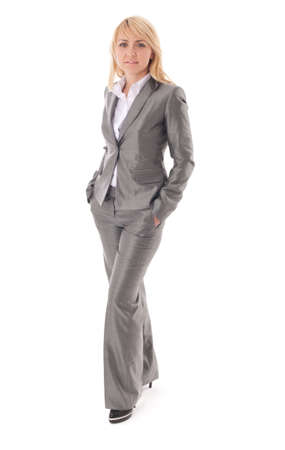 Portrait of happy businesswoman in formal dress. Isolated on white with small shadows