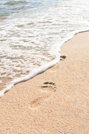 Ocean wave wash away footprints on sand photo