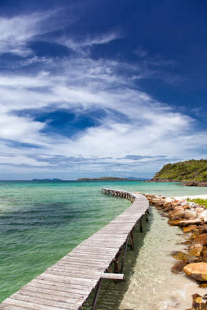 View from the pier on the sea at loneliness beach on Thai island Koh Kood photo