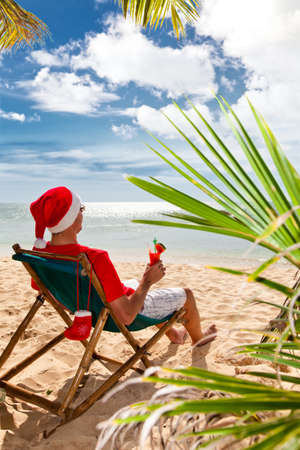 Tropical Christmas  Man in Santa photo