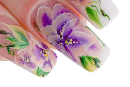 Human fingers with beautiful spring manicure over white background photo