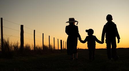 Mennonite children holding hands