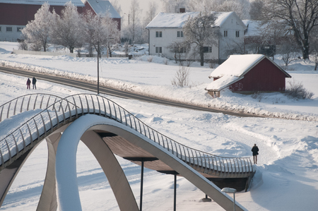 Nordic town with snow