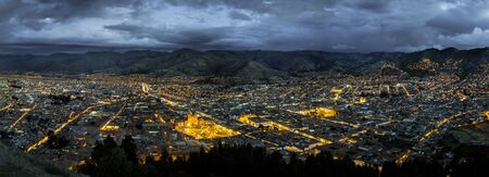 Panorama of Cuzco city by night