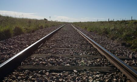 Train tracks in the Pampas that go to Bahía Blanca city