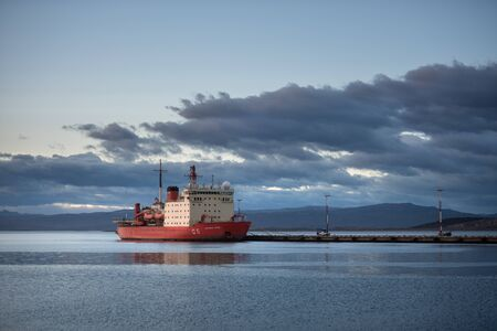 Ushuaia, Argentina - March 27 2019: The large icebreaker Almirante Irizar moored in the seaport of the city.