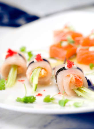 Fresh Sushi Roll with Red Caviar photo