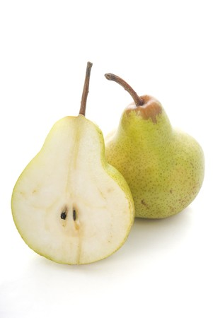 asian pear: Half pear and full pear isolated on white background