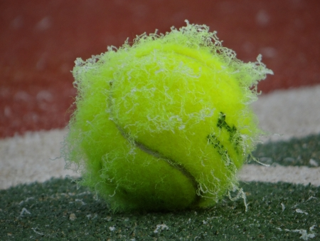 Frost-covered tennis ball