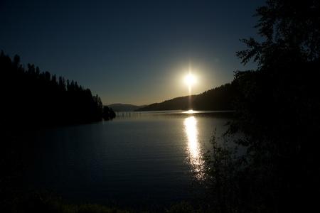 coeur: Coeur d Alene lake at dusk  5