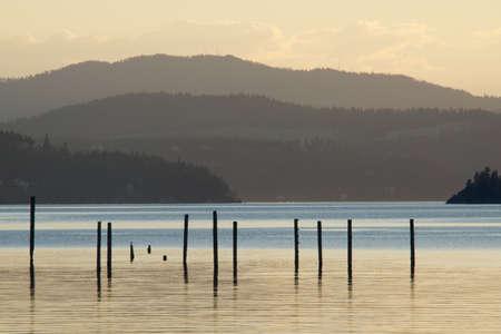 coeur: Coeur d Alene lake at dusk  9