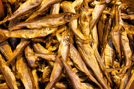 Dried fish on sale in wet market Stock Photo - 28449369