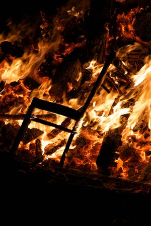 guy fawkes night: Chair burning in Guy Fawkes Night bonfire