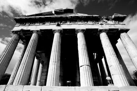 mono: Mono front colonnade of Temple of Hephaistos Stock Photo