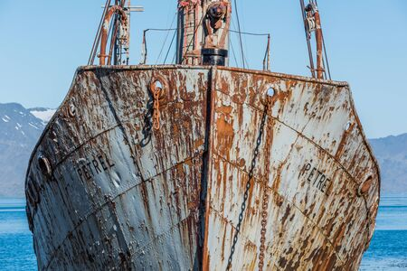 whaling: Close-up of bows of old rusting whaler