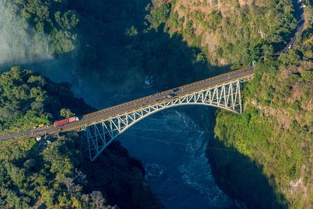Aerial view of Victoria Falls suspension bridge Stock Photo