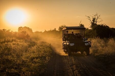 dusty: Jeep driving down dusty track at sunset Stock Photo