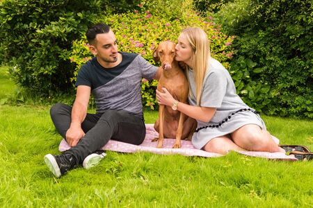 hungarian pointer: Couple on rug with woman kissing dog Stock Photo