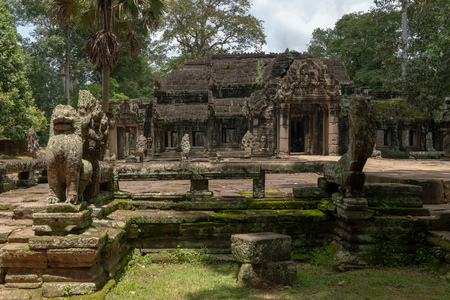 Banteay Kdei temple guarded by stone statues