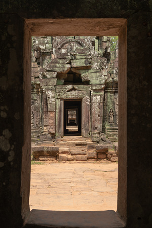 View through temple corridor framed by doorway