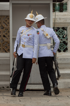 White-jacketed Grand Palace soldiers changing the guard Editorial