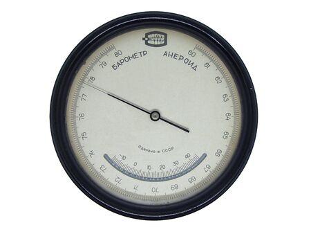 Barometer aneroid retro isolated on white background. Translations: