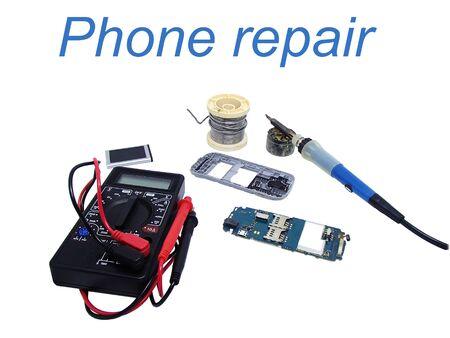 Phone repair service tools Stock Photo
