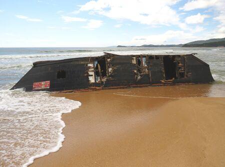 Wrecked North Korean fishing boat on the beach of Livadia, Nakhodka, after the typhoon Soulik