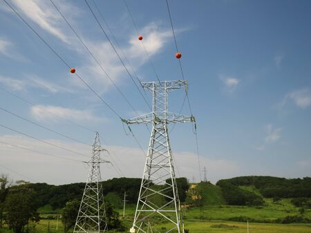 High voltage electricity transmission line equipped with obsta spherical markers