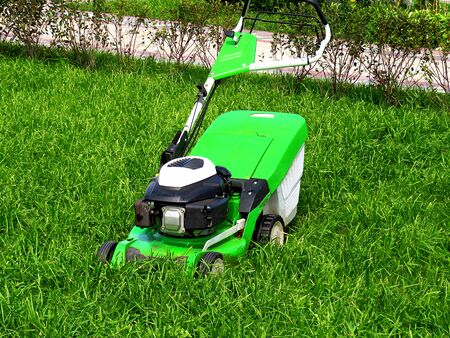 Green lawnmower trimmer in thick dense grass closeup