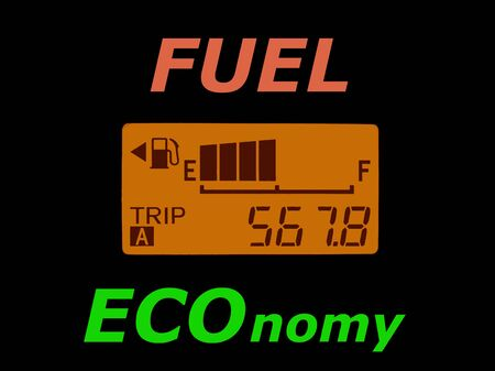 Fuel economy: fuel gauge and odometer showing a minimal fuel consumption. Ecology and economy concept.